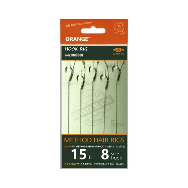 LIFE-ORANGE METHOD HAIR RIGS, (15LB, HOOK #12, SERIES 3), 5DB