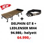 Delphin GT8 Carpath horgászágy + Ledlenser MH4 fejlámpa